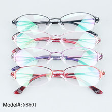 N8501 Woman's delicate half rim colorful metal optical frame myopia prescription spectacles eyeglasses eyewear(China)