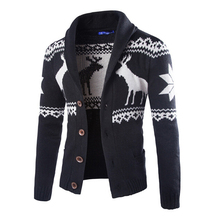 Hot Fashion winter men christmas sweater with deer pattern cable knit crew casual cardigan sweaters mens(China)