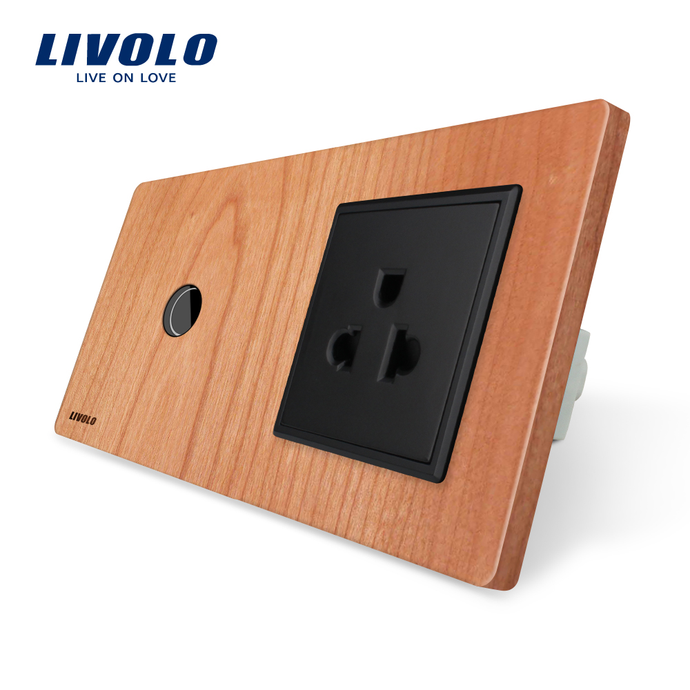 Livolo Touch Switch&amp;US Socket, Cherry Wood Panel, 110~250V 16A US Wall Socket with Light Switch, VL-C701-21/VL-C7C1US-21<br>