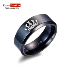 Bird Feather Stainless Steel Men Rings crown couple Titanium Rings for Women Vintage Punk Fashion Jewelry Woman Wedding Ring(China)