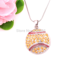 New product  10pcs zinc alloy rhodium Round Softball Pave Crystal sports Pendant chain necklaces