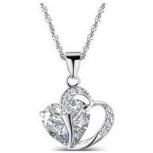 New Fashion Heart Shape 5 Color Crystal Necklace & Pendants 925 Sterling Silver Chain Jewelry & Women Sell Well Wholesale