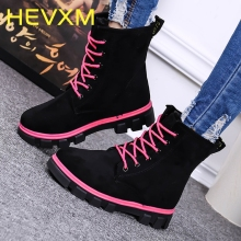 HEVXM 2017 Autumn And Winter New Women Boots Suede Leather Fashion Ankle Boots Women'S Plus Velvet Warm Boots Free Shipping