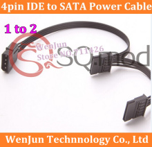 50PCS Free Shipping  SATA Power Supply Cable 4Pin IDE Molex to 2 SATA Connector Lead  For HDD SSD Cage PC Server DIY