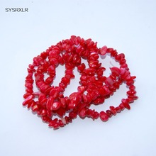 Wholesale Gravel irregular Shape Gules Natural Coral 5-8 MM Stone Beads For Jewelry Making DIY Bracelet Necklace Strand 34''