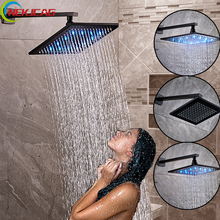 "Wall Mount Square Oil Rubbed Bronze 8"" Rainfall Shower Head Bathroom Brass LED Color  Shower Head Brass Shower Arm"