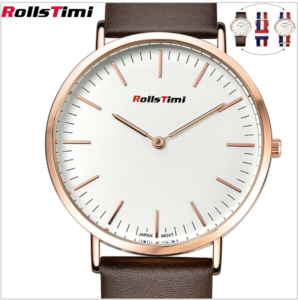 ROLLSTIMI Watches New High quality Men 2016 genuine Leather or Nylon Strap Gold Color Quartz Watch free shipping wholesale   <br>