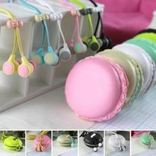 1pcs Cute Macarons design in-ear earphones with small little bread organizer bags For Xiaomi For Samsung For iPhones MP3 Player(China)