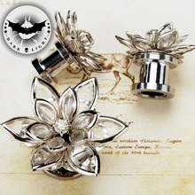1Pair Screw 3D Crystal Flower Stainless Steel Ear Reamer  Earring Tunnel Plugs and Gauges Flesh Piercing Expander  6-16mm