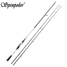 New Spinpoler 2.4m Spinning Casting Fishing Rod Carbon M & MH Two Tips Fishing Pole pesca(China)