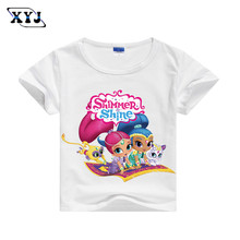 2017 Shimmer And Shine Costumes Childrens Girls Tees T shirt For Girls Summer T-shirt 5 Colors Shirts For Baby Casual Tops(China)