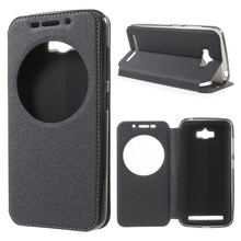 Case for Asus Zenfone Max Sand-like Texture Window Leather Smart Phone Bag for Asus ZC550KL Cover
