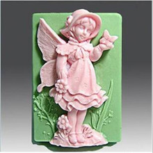 Cavity Baby Praying Angel Boy Silicone Candle Mold,Form for soap ,Moulds for soap making,Fondant Cake Molds(China)