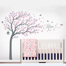 Butterflies Tree Wall Decal Vinyl Stickers Personalized Kids Names And Birds Cherry Blossom Tree Wall Decals Decor Art Mural