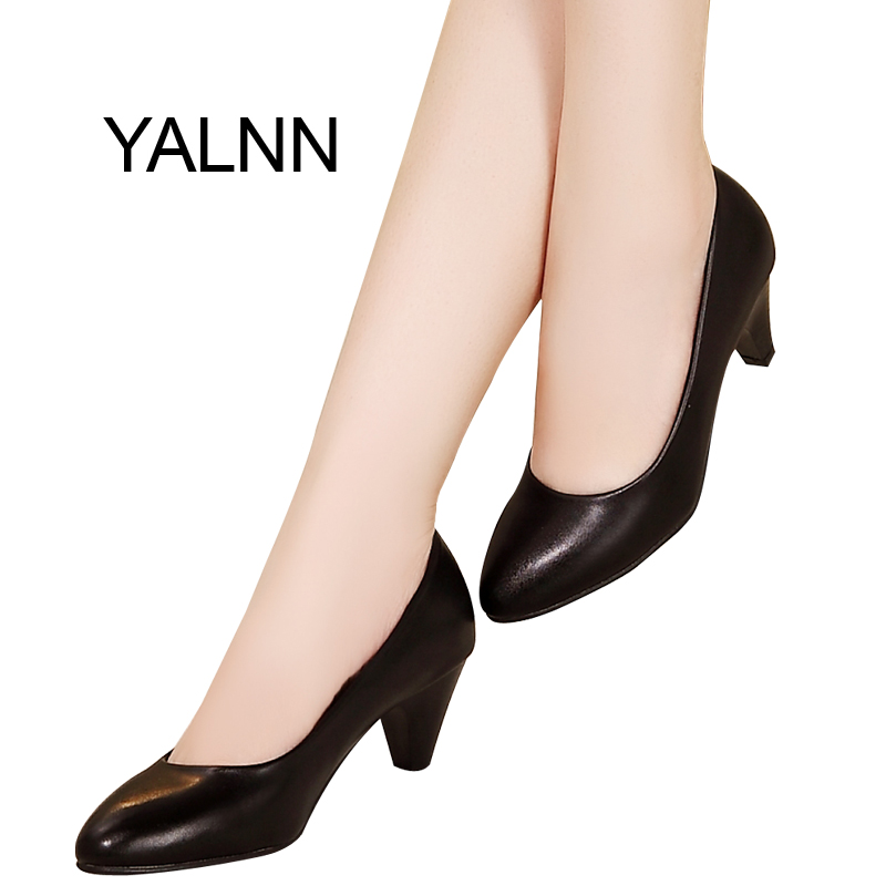 YALNN Elegant Women Pump Birthday Gift High Quality Shoes Classic Med Office Ladies Shoes High Heels Shoes<br>