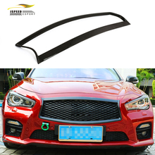 Q50 Car styling carbon fiber auto front grille trim covers overlay for infiniti Q50 2014 2016