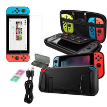 New Hot Games and Accessories For Switch Ninten Accessories 6-In-1Glass Screen Protectors Grip Case Cartridg Free Shipping(China)