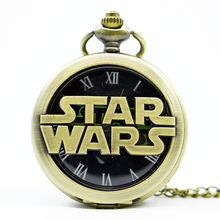 Bronze Steampunk STAR WARS Sci-fi Science Fiction Movies Quartz Pocket Watch Analog Pendant Necklace Mens Womens Watches Gift