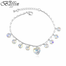 2016 Genuine Crystals from Swarovski Heart Charm Bracelets Rhodium Plated Pulseras Women Jewelry for Christmas Gift