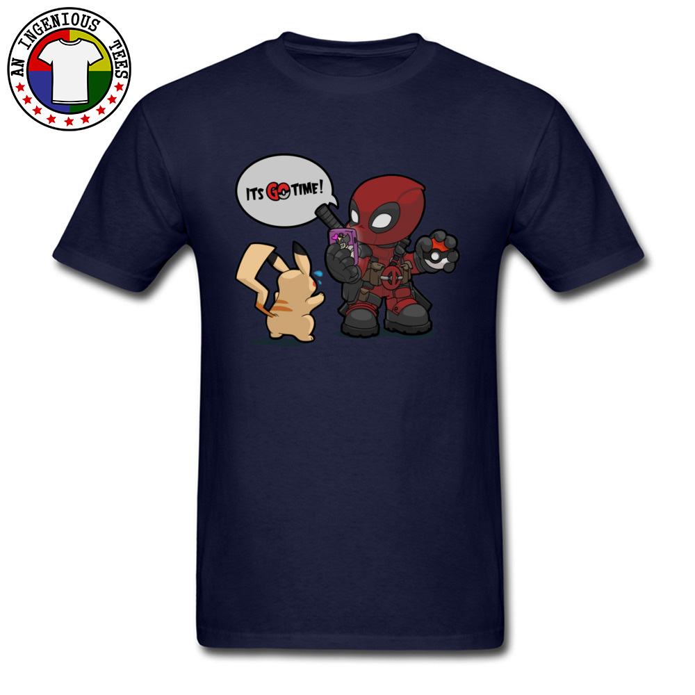 Tops & Tees Deadpool Pokemon GO time 1226 Summer Short Sleeve 100% Cotton Crewneck Man Top T-shirts Leisure Clothing Shirt Plain Deadpool Pokemon GO time 1226 navy