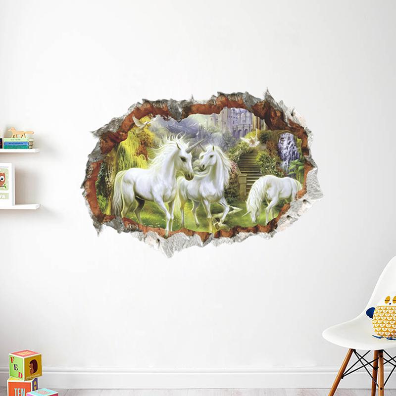 HTB1LbuTtkCWBuNjy0Faq6xUlXXaZ - unicorn horse forset wall stickers creative 3d break the wall effect picture For Kids Rooms