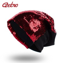 Geebro Autumn Candy Color Sequins Beanies Hat Unisex Party Dance Hat Magical Reversible Sequin Cap Color Changing Hat GS080(China)