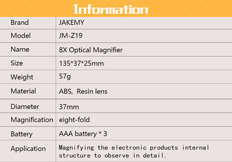 Jakemy JM-Z19 8X optical magnifier with cree 2 led for repairing fixing internal observe details for PC smartphone repairing