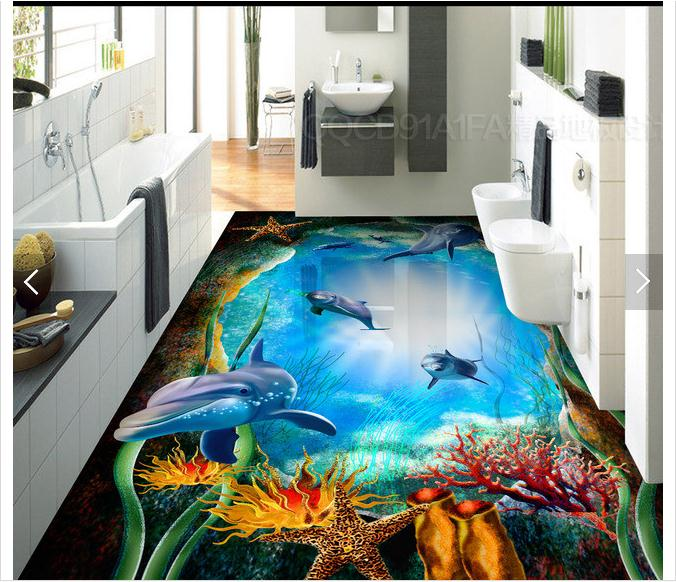 customized 3d photo wallpaper 3d pvc floor painting wallpaper Underwater caves dolphins living room floor in a bathroom wallpaer<br>