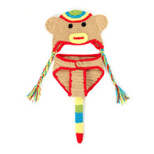 Wholesale Factory Children accessories Newborn Photography Props Handmade Crochet  Baby Monkey Hat and Shorts set 0-12 Months