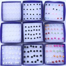 Free Shipping Cheap 4mm 5mm 6mm Cheap Imitation Pearl Plastic Stick Stud Earrings 60pairs/plastic box Packing White Black Mixed