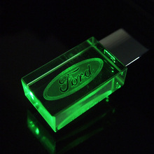 Pen drive 8GB New Crystal Transparent LED Flash for Ford Car Logo 4GB 16GB 32GB USB Flash 2.0 Memory Drive Stick Pen/ LED Light