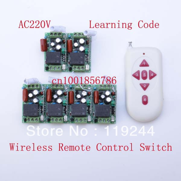 220V 1CH Radio RF Wireless Remote Control Switch 6Receiver&amp; transmitter Learning Code 315/433Mhz mini size<br>