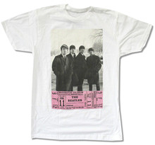 "THE BEATLES ""D.C. TICKET"" WHITE T-SHIRT NEW 1964 CONCERT OFFICIAL ADULT shopping t shirt"