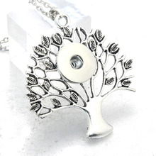 wholesale 18mm 20mm Tree of Life Snap Button Pendant 60CM Necklace Charms Fashion Snaps Button DIY Jewelry Gift For Women 2696(China)