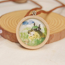 Cute Totoro Miyazaki Hayao Necklace Good Wood Leather Cord Necklace Ideal Gifts for Best Friends dxl013(China)