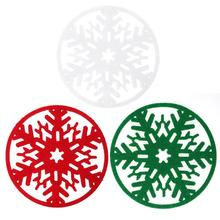 10pcs Christmas Snowflakes Cup Mat Dinner Party Non-woven Fabric Table Mat Coasters Dish Tray Pad Christmas Decorations(China)