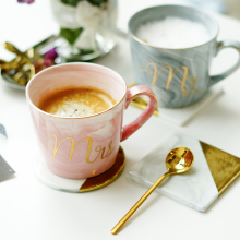 Luxury Marble Ceramic Mugs Gold Plating MRS MR Couple Lover's Gift Morning Mug Milk Coffee Tea Breakfast Unique Porcelain Cup