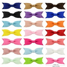 Latest 20 Pcs/lot 3.2 Inch Bowknot Hair Clips Sweet Ribbow Bow Safety Hair Clips Kids Hairpins Hair Accessory 664(China)