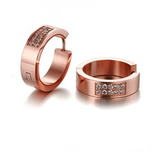 Top Quality Rose Gold Color Filled CZ Hoop Earrings Cubic Zirconia Fashion Brand Circle Jewelry For Perfume Women Lady Bijoux