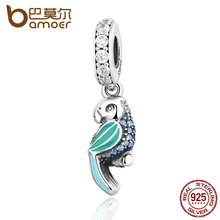 BAMOER 925 Sterling Silver Tropical Parrot, Mixed Enamels, Teal & Clear CZ Charms fit Bracelets Women Accessories PAS346(China)