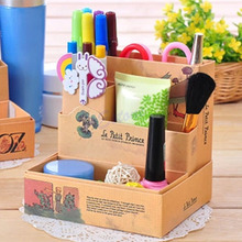 1Pc DIY Paper Stationery Makeup Cosmetic Desk Organizer Board Fairy Tale Storage Box