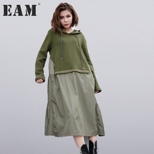 [EAM] 2017 new autumn winter hooded long sleeve army green fold split joint big size dress solid color women fashion tide JC930(China)