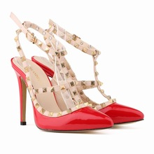 2016 New Fashion Designer Two-Tone Slingback Sandal Red Patent Leather T-Strap Pumps Women Rivets High Heels Ladies Shoes