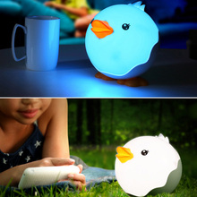 Cartoon duckling LED night light rechargeable table lamp night light bedroom bedside lamp touch light sensor lamp baby milk lamp(China)