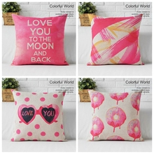 Hot Sale Cotton Valentine Gift Pink Love Luxury Pink Sofa Cover Pink Almofada/Cojines 45Cmx45Cm Square Home Decor Houseware 3D