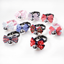 Pet Dog Cat Collar Cute Bowknot Butterfly Knot Striped Polka Dot Design with Bell Fashion Adjustable Necklet(China)