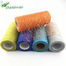 New 15cm*10Y Gold Wire Tissue Tulle Roll Spool Craft Wedding Party Decoration Organza Sheer Gauze Element Table Runner,B