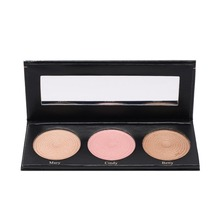 BEAUTY GLAZED Portable 3 Color Brightener Highlighter Shimmer Palette Set Highlight Powder Make Up Palette Waterproof Cosmetics(China)