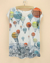 Fire Balloon & Castle printed top tee 2015 new fashion t-shirt women summer clothing hot sale ladies plus size tees discount(China)