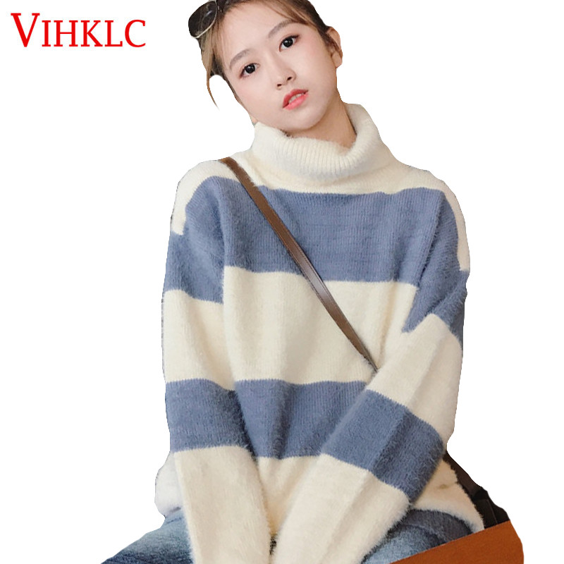 High Collar Lazy Wind Loose Sweater Women 2018 Autumn Winter Clothing New Korean Version Small Fresh Sweet Hooded Net Red X303